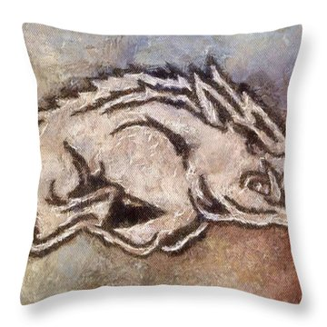 Go Hogs Go  Throw Pillow by Dawn Bearden