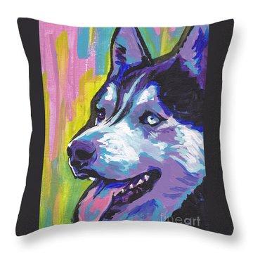 Go Husky Throw Pillow by Lea S