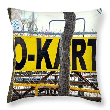 Throw Pillow featuring the photograph Go Karts by Valentino Visentini