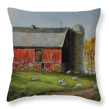 Goat Farm Throw Pillow