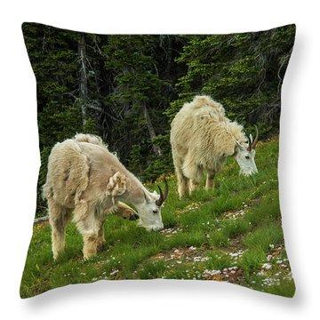 Goat Garden Throw Pillow