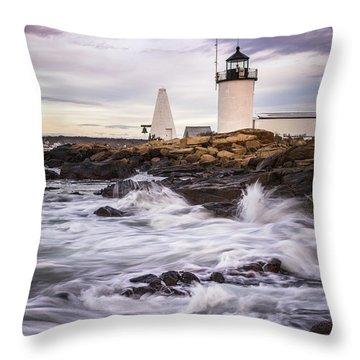 Goat Island Lighhouse Throw Pillow