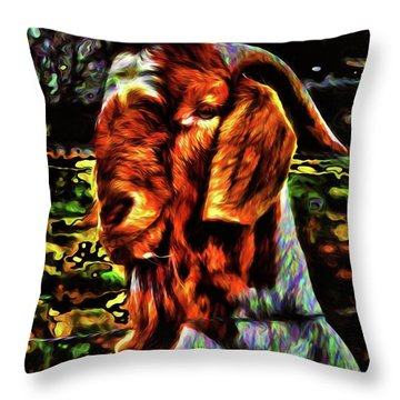 Goat Smile Throw Pillow