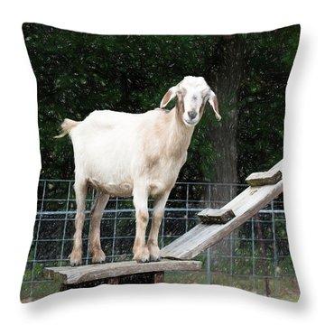 Goat Smile Throw Pillow