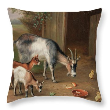 Goats And Chickens In A Farmyard Throw Pillow