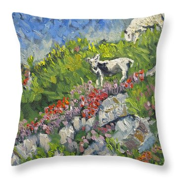 Goats On Hill Throw Pillow