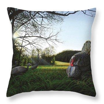 Gobbler's Morning Dance Throw Pillow