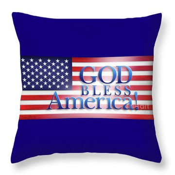 Throw Pillow featuring the mixed media God Bless America by Shevon Johnson