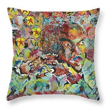 God Bless The Red, Black And Blue- Sombra De Arreguin Throw Pillow