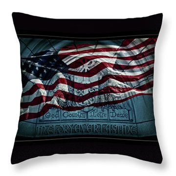 God Country Notre Dame American Flag Throw Pillow by John Stephens