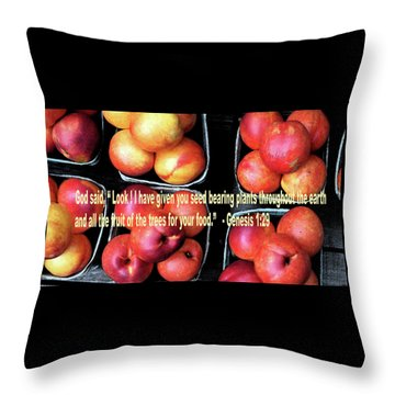 God Gives Fruit For Food Throw Pillow