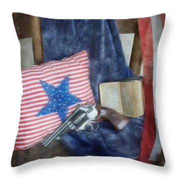 Throw Pillow featuring the photograph God, Guns And Old Glory by Benanne Stiens