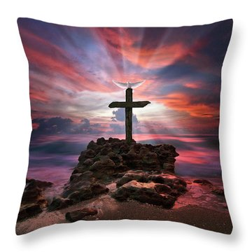 God Is My Rock Special Edition Fine Art Throw Pillow by Justin Kelefas
