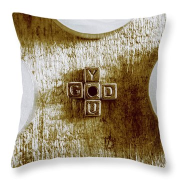 God Is You Metal Lettering Typography Near White Candles, Faith  Throw Pillow