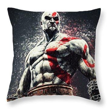 God Of War - Kratos Throw Pillow by Taylan Apukovska