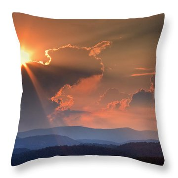 God Rays Over N C  Mountains Throw Pillow