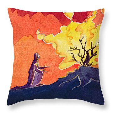 God Speaks To Moses From The Burning Bush Throw Pillow by Elizabeth Wang