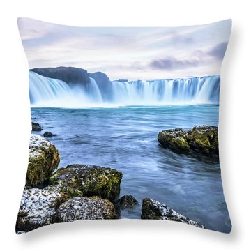 Godafoss Waterfall In Iceland Throw Pillow