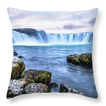 Godafoss Waterfall In Iceland Throw Pillow