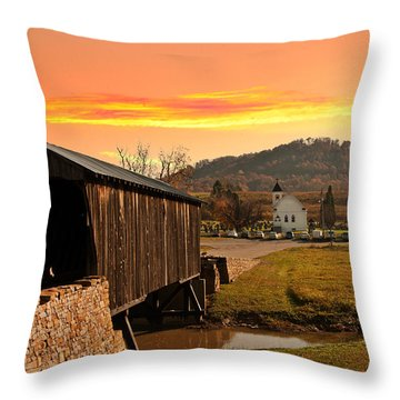 Goddard White Bridge And Church  Throw Pillow by Randall Branham