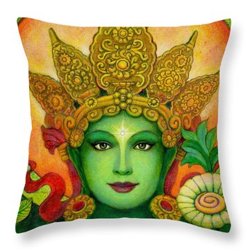 Goddess Green Tara's Face Throw Pillow