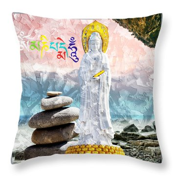 Throw Pillow featuring the mixed media Goddess Of Mercy by Lita Kelley