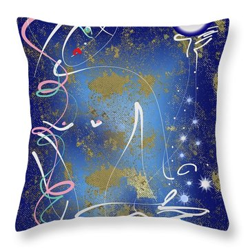 Throw Pillow featuring the mixed media Goddess Of The Night Sky by Larry Talley