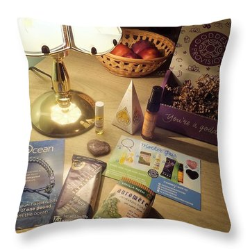 Throw Pillow featuring the photograph Goddess Provisions Box For June 2017 by Denise Fulmer