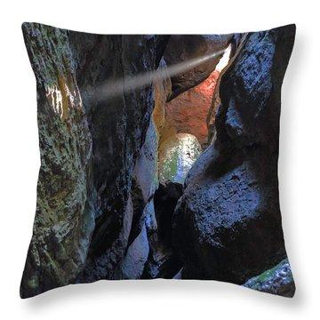 Godray At Bear Gulch Cave Throw Pillow