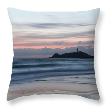 Godrevy Lighthouse From The Beach Throw Pillow