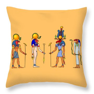 Gods And Goddess Of Ancient Egypt Throw Pillow