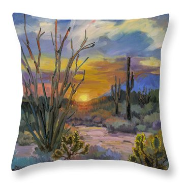 God's Day - Sonoran Desert Throw Pillow by Diane McClary
