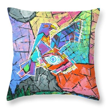 God's Eye, Like Eagle, Roams Earth, Night And Day Throw Pillow by Jeremy Aiyadurai