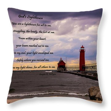 God's Lighthouse Throw Pillow