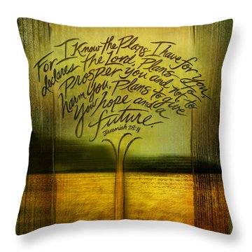 Throw Pillow featuring the mixed media God's Plans by Shevon Johnson
