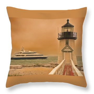 Throw Pillow featuring the photograph Godspeed At Brant Point Nantucket Island by Jack Torcello