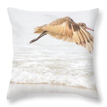 Godwit Over The Ocean Throw Pillow by Ruth Jolly