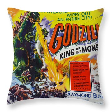 Godzilla King Of The Monsters An Enraged Monster Wipes Out An Entire City Vintage Movie Poster Throw Pillow