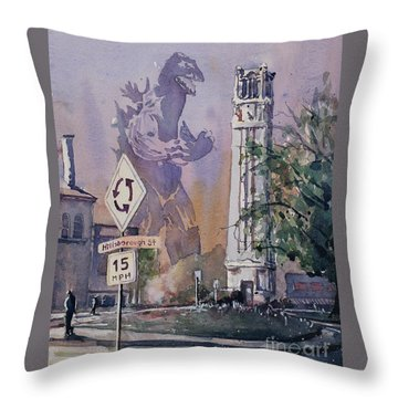 Throw Pillow featuring the painting Godzilla Smash Ncsu- Raleigh by Ryan Fox