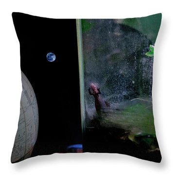 Godzilla Watches And The Moon Is Blue Throw Pillow