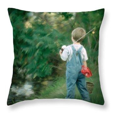 Goin' Fishin' Throw Pillow