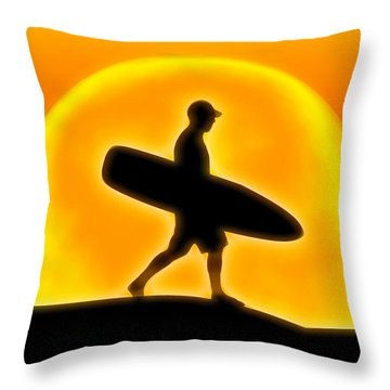 Goin' For A Surf Throw Pillow by Andreas Thust