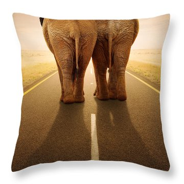 Going Away Together / Travelling By Road Throw Pillow