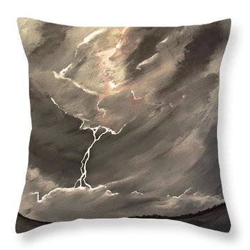 Throw Pillow featuring the painting Going Down A Storm by Scott Wilmot
