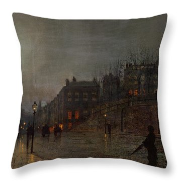 Going Home At Dusk Throw Pillow by John Atkinson Grimshaw