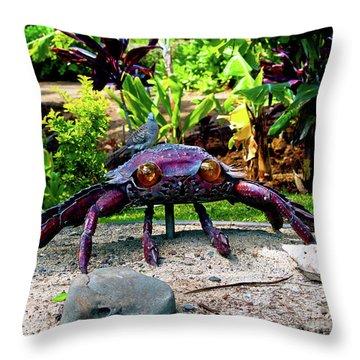 Going Piggyback On A Crab Throw Pillow