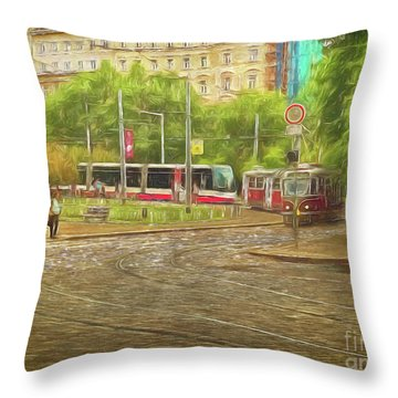 Going Slowly Round The Bend Throw Pillow