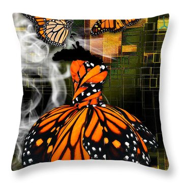 Throw Pillow featuring the mixed media Going The Distance by Marvin Blaine
