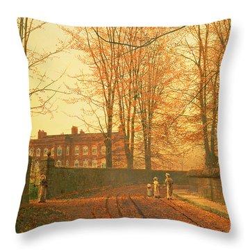 Going To Church Throw Pillow by John Atkinson Grimshaw