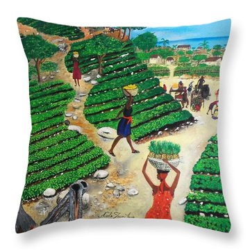 Going To The Marketplace #4 -  Walking Through The Terraces Throw Pillow by Nicole Jean-Louis